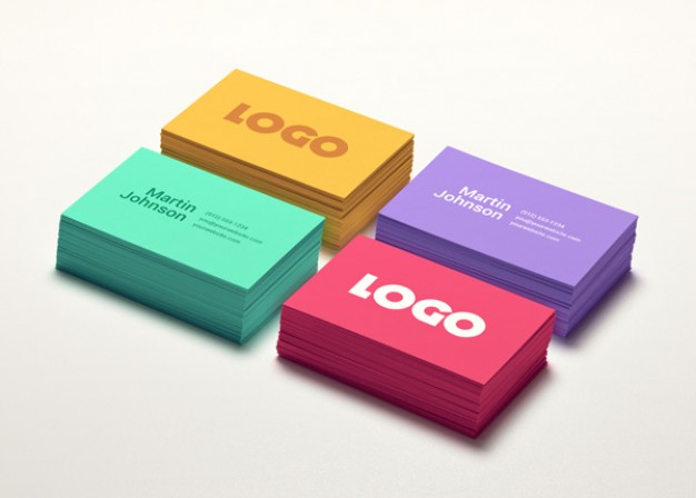 business-card-mockups-in-four-colors